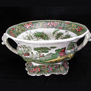Large Brightly Colored English Transferware Handled Italianate Design Copeland Spodes Serving