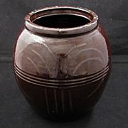 Dark Brown glazed stoneware jar early 20th century