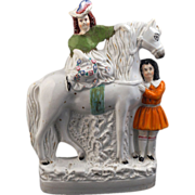 REDUCED Large English ceramic Staffordshire figure of a horse with boy and girl - late 19th ..