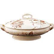 REDUCED English Victorian transferware tureen with lid in an aesthetic movement Japanese style