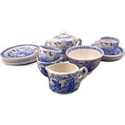 17-piece rare blue and white Water Hen Staffordshire English transferware child's tea set ..