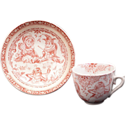 REDUCED Staffordshire Allerton Punch & Judy red transferware paste child's teacup and saucer .