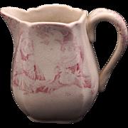 REDUCED Staffordshire Allerton Punch & Judy paste transferware child's creamer circa 1880