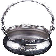 Victorian Knickerbocker silver plate candy dish with fern handle early 1900s