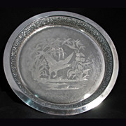 """REDUCED Victorian Meriden 12"""" Silverplate Tray with waterfowl c 1865"""