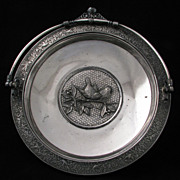 Victorian Silver Plate Meriden Cake Basket with birds and flowers c 1870