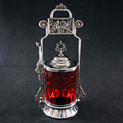 REDUCED Aesthetic Period Victorian silver plated pickle castor with cranberry glass jar - ...