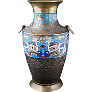 Large Japanese archaic style bronze vase with cloisonné Tao tie masks and ring handles circa