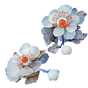 Vintage matched pair of Chinese jade peonies with bead-tipped stamens early 20th century
