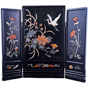 Vintage Chinese stone inlayed and lacquer three panel table screen with egret and floral ...