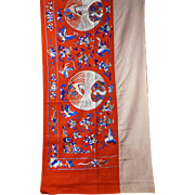 Chinese red wool hand embroidered 7+ foot banner with auspicious symbols late 19th early 20th