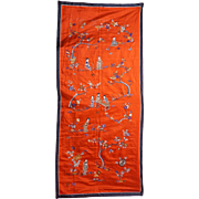 Chinese red silk embroidered banner with scholars in a garden late 19th early 20th century