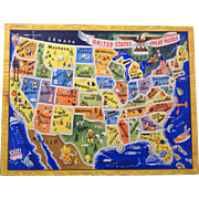 Vintage 1950s Children's map puzzle of the United States