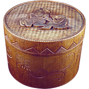 Japanese vintage wood carved lidded cylindrical box or humidor with three monkeys early 20th c