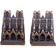 Heavy iron copper clad Bishop's cathedral bookends circa 1929