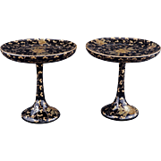 Pair of Japanese lacquered decorative stem cups with gold lacquer design in a presentation box
