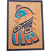 Hand carved vintage signed Canadian First Nation wooden plaque with a Kwakiutl Thunderbird ...