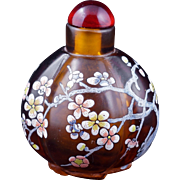 Chinese amber-colored enameled Peking glass lobed snuff bottle 20th century