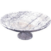 Gray and white alabaster pedestal dish early 20th century