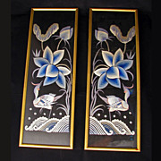 REDUCED Pair of framed Chinese silk on silk bird embroideries