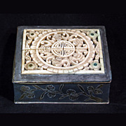REDUCED Vintage Chinese Metal Box with Carved Bone Top and  Brass Inlays - Early 20th Century