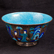 REDUCED Enameled Chinese Metal Bowl Early 20th Century