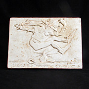 Vintage 1934 plaster plaque of the nursery rhyme Jack jumping over the candlestick