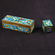 REDUCED Set of two Chinese hinged brass enameled boxes circa 1920
