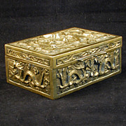 REDUCED Republic-Period Chinese Sandalwood Lined Brass Box with Nine Dragons