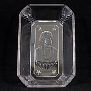 Victorian clear glass rectangular serving EAPG dish with celebrity Adelaide Neilson from 1879