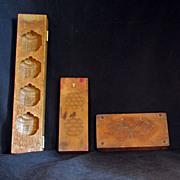 REDUCED Set of Three Vintage Wood Japanese Kigata Sweets Molds