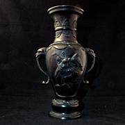 Large 19th century Meiji patinated Japanese bronze vase