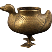 Chinese brass duck figure incense burner circa 1900