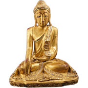 REDUCED Thai carved and gilded seated Buddha statue with glass jewels 20th century