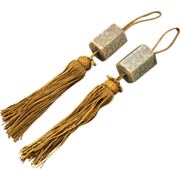 Vintage Asian Stone Scroll Weights with Cord and tassel - Early 20th Century