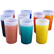 Set of 9 Vintage multicolor Mid-century stardust plastic-coated tumblers c1950s