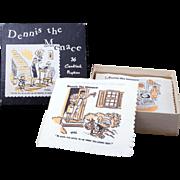 Vintage Box of Dennis the Menace cartoon paper cocktail napkins c 1952