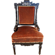 REDUCED Antique Ebonized Aesthetic Eastlake Movement Side Chair ca 1870