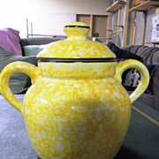 REDUCED Yellow Stangl Town & Country Bean Pot or Cookie Jar with Lid