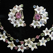 Delicate LeRu pastel rhinestone floral necklace and earrings
