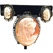 Victorian Shell Cameo filigreed brass brooch/pendant with matching earrings