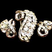 Trifari  rhinestone brooch and earring set