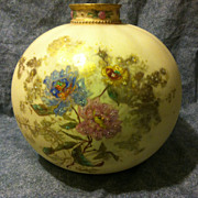 SALE Royal Crown Derby gourd vase with raised enamel flowers and gold accents 1888 7 ...