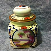 SALE Noritake Nippon Nouveau scenic tobacco humidor jar moriage and slip work early 1900's ...