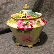 Noritake maple leaf Nippon poppy biscuit jar very near mint 1880's