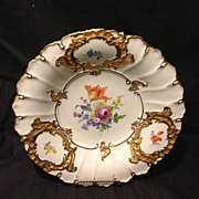 """SALE Meissen 11.5"""" charger bowl with Dresden flowers and heavy gold gilt Mint"""