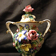 """SALE Coalbrookdale potpourri with rose finial 6.5"""" unmarked excellent condition circa 185"""