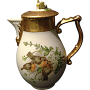KPM Berlin hand painted birds syrup chocolate pitcher Very Rare heavy gold 1830's