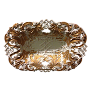 """SALE Meissen First Quality 12.5"""" reticulated Rococo bowl with heavy gold gilt in near ..."""