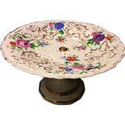 Meissen Roman Numeral period bolted  embossed floral compote tazza Exquisite Rare circa 1815
